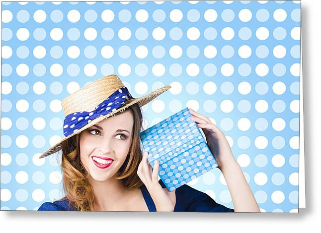 Happy Birthday Girl Holding Present Greeting Card by Jorgo Photography - Wall Art Gallery
