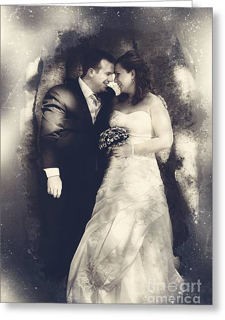 Happy Bride And Groom In A Wedding Romance Greeting Card