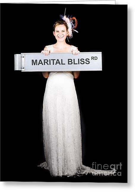 Happy Bride On The Road To Marital Bliss Greeting Card
