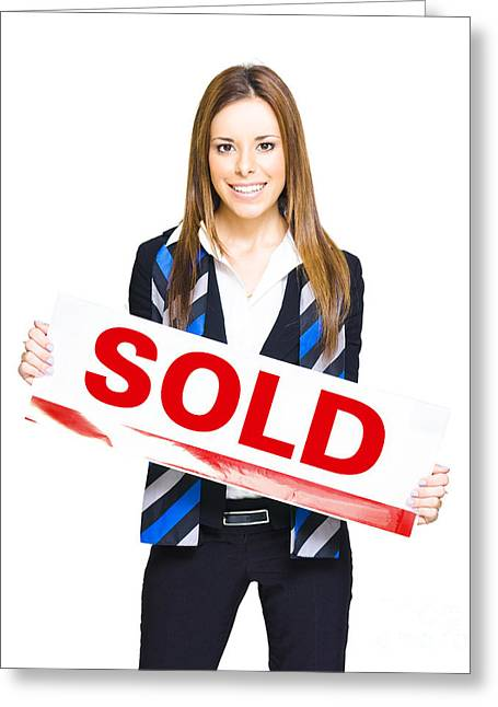 Happy Business Woman Holding Sold Sign Greeting Card