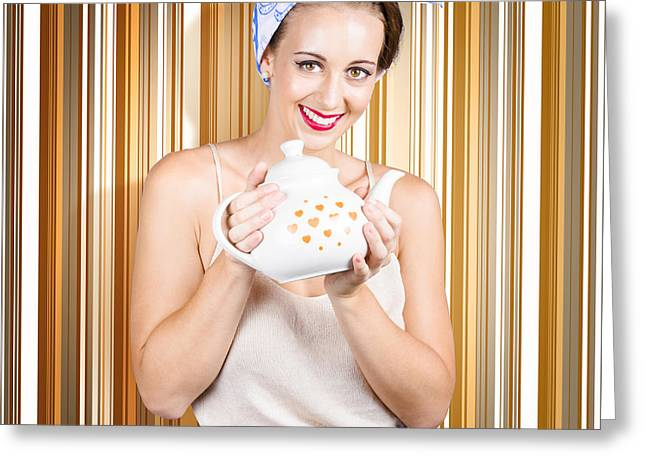 Happy Cafe Waitress Holding Hot Coffee Kettle Greeting Card
