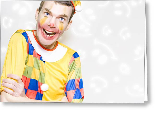 Happy Colorful Clown With Big Smile Greeting Card by Jorgo Photography - Wall Art Gallery