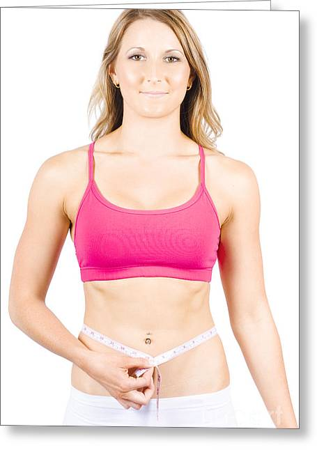 Happy Diet And Exercise Woman Measuring Body Fat Greeting Card