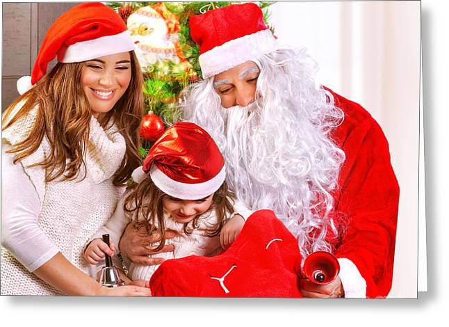 Happy Family On Christmas Eve Greeting Card by Anna Om
