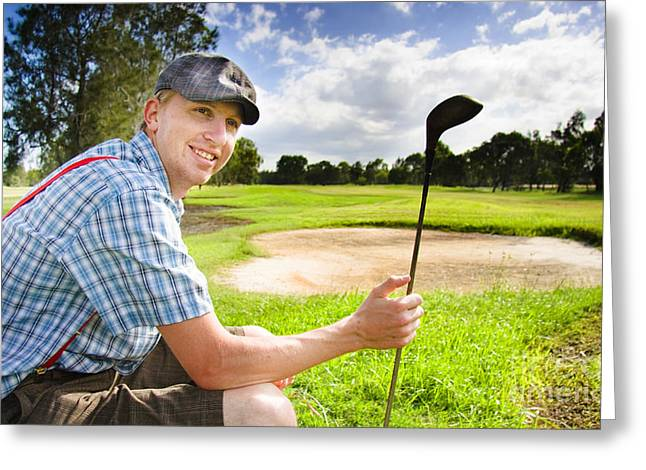 Happy Golf Player Greeting Card by Jorgo Photography - Wall Art Gallery