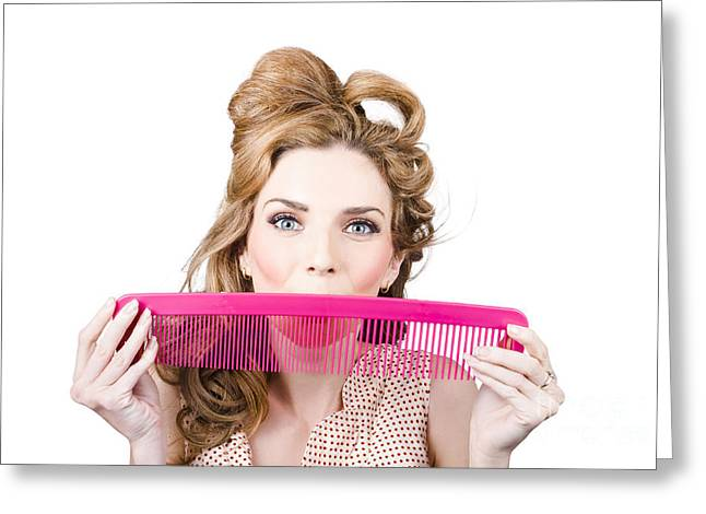 Happy Hairstyle Pinup Woman Smiling With Hair Comb Greeting Card by Jorgo Photography - Wall Art Gallery