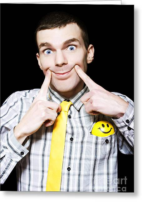 Happy Man With Big Smile On Black Background Greeting Card by Jorgo Photography - Wall Art Gallery