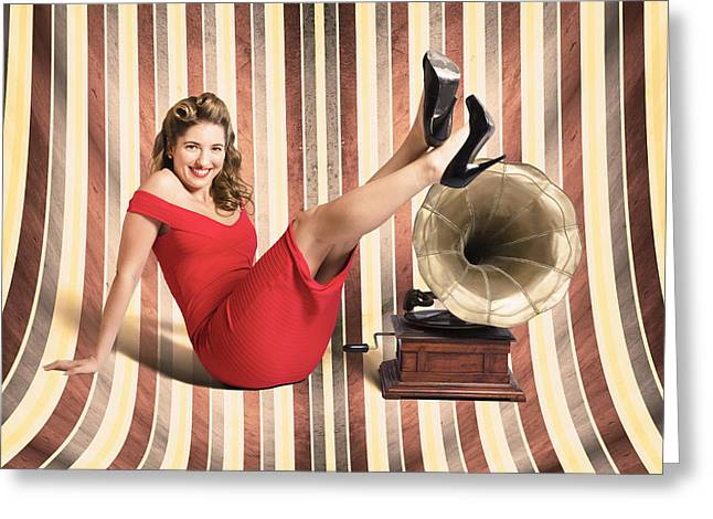 Happy Pin Up Lady. Retro Music And Entertainment Greeting Card by Jorgo Photography - Wall Art Gallery