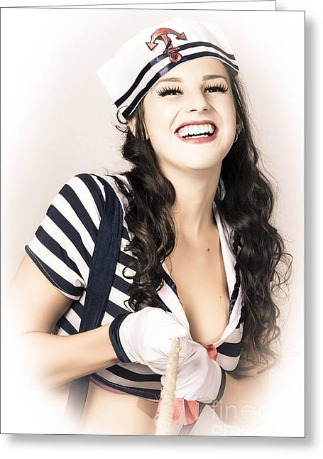 Happy Sailor Girl Pin-up Pulling In Anchor Rope Greeting Card by Jorgo Photography - Wall Art Gallery
