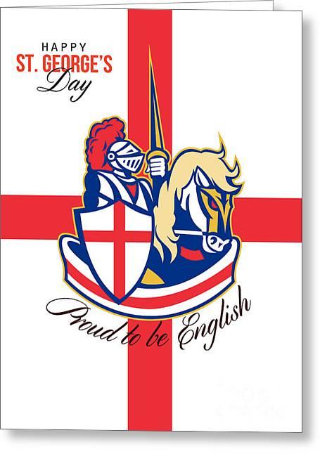 Happy St George Day Proud To Be English Retro Poster Greeting Card by Aloysius Patrimonio