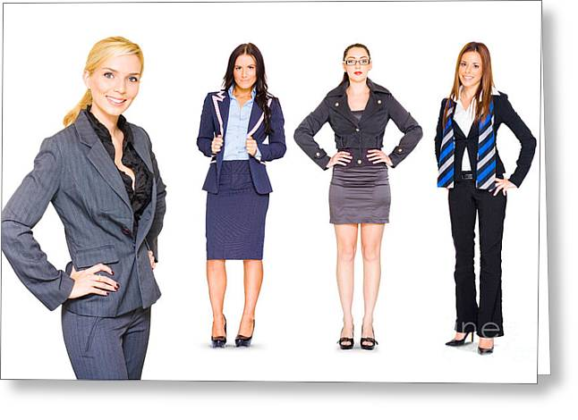 Happy Team Of Business People Isolated Over White Greeting Card