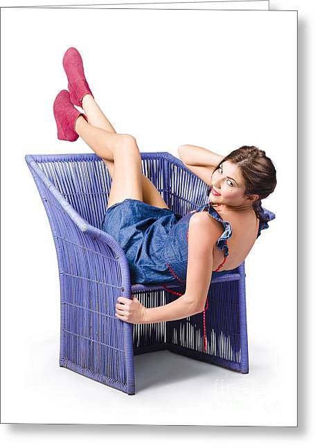 Happy Woman In Denim Dress Kicking Back On Chair Greeting Card by Jorgo Photography - Wall Art Gallery