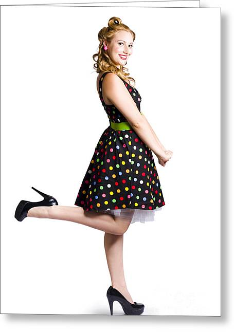 Happy Woman In Retro Dress Greeting Card by Jorgo Photography - Wall Art Gallery