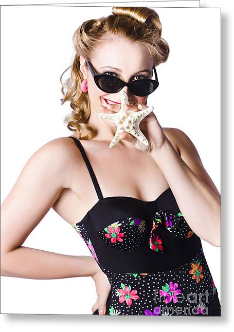 Happy Woman In Swimming Costume Greeting Card by Jorgo Photography - Wall Art Gallery