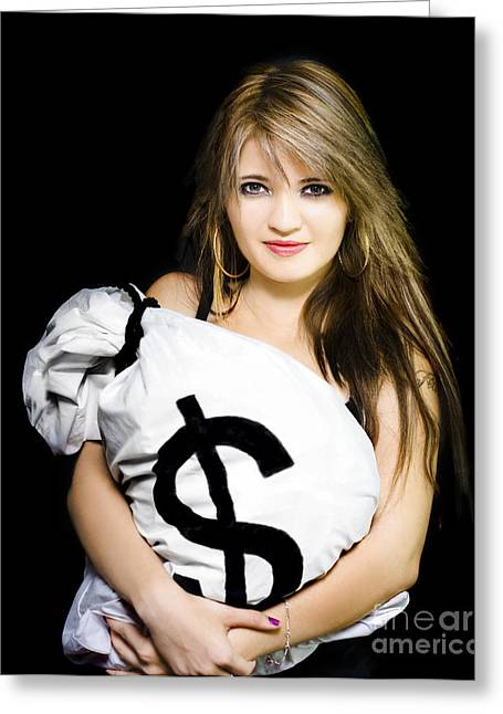 Happy Woman With A Bag Of American Dollar Bills Greeting Card by Jorgo Photography - Wall Art Gallery