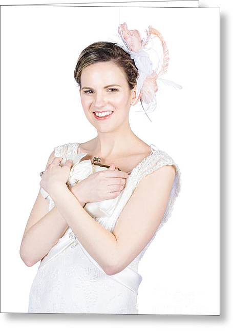 Happy Young Bride Holding Purse Greeting Card by Jorgo Photography - Wall Art Gallery