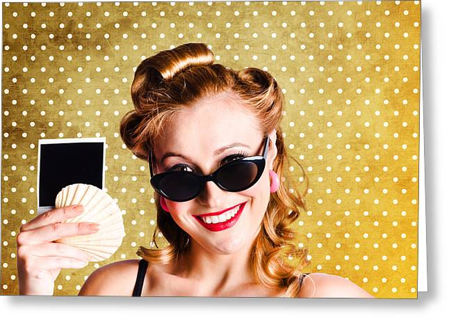 Happy Young Pin-up Woman Showing Travel Picture Greeting Card by Jorgo Photography - Wall Art Gallery