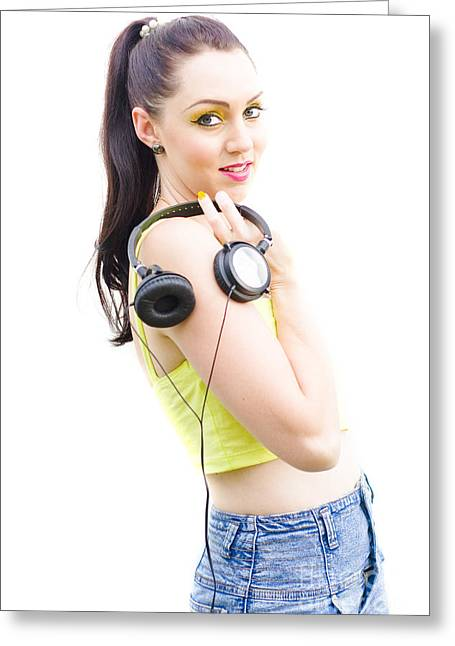 Happy Young Woman With Headphones Greeting Card