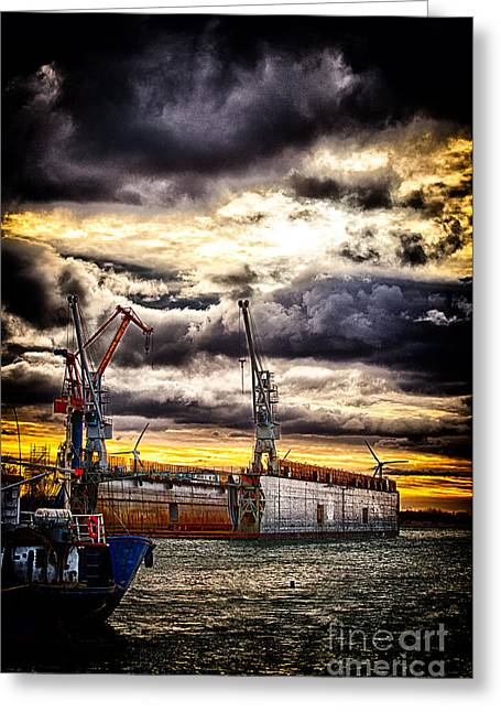 Harbor Greeting Card by Miso Jovicic