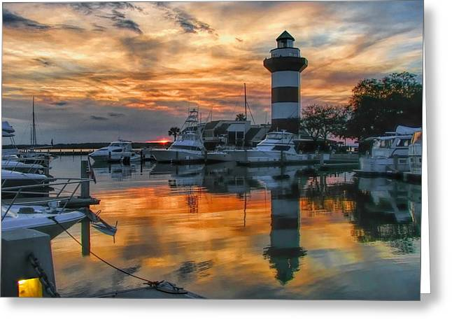 Harbour Town Sunset Greeting Card