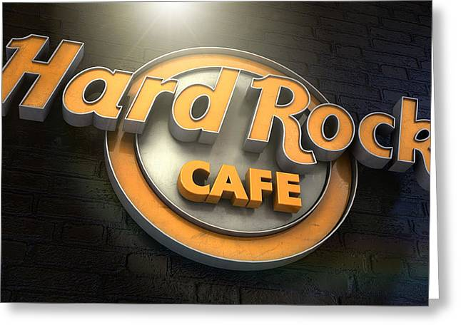 Hard Rock Cafe Logo Greeting Card by Allan Swart
