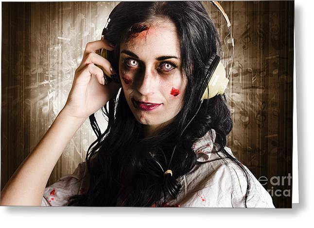 Hard Rock Zombie Listening To Death Metal Music Greeting Card by Jorgo Photography - Wall Art Gallery