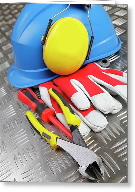 Hardhat And Tools Greeting Card by Christian Lagerek/science Photo Library