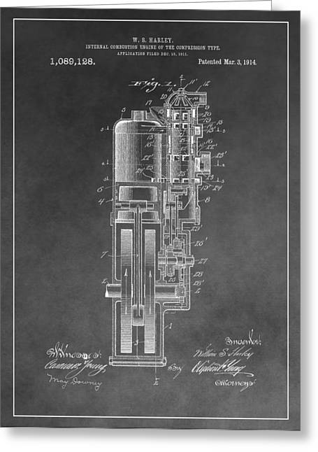 Harley Davidson Engine Patent Greeting Card by Dan Sproul