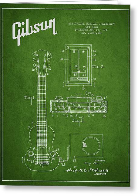 Hart Gibson Electrical Musical Instrument Patent Drawing From 19 Greeting Card by Aged Pixel