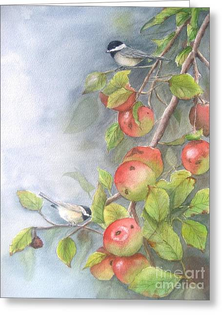 Harvest Chickadees Greeting Card by Patricia Pushaw