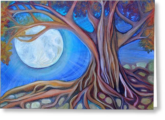 Harvest Moon Greeting Card by Cedar Lee