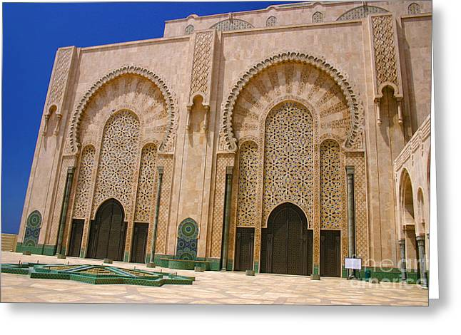 Greeting Card featuring the photograph Hassan II Mosque Grand Mosque Sour Jdid Casablanca Morocco by Ralph A  Ledergerber-Photography