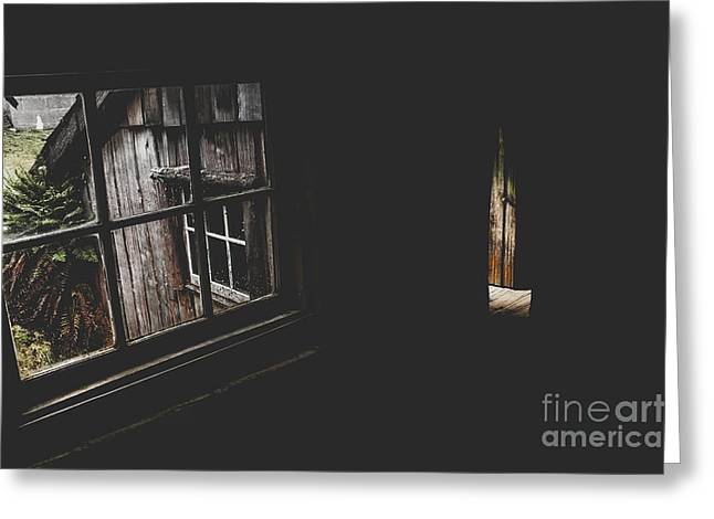 Haunted House Window View Of Open Door In Darkness Greeting Card by Jorgo Photography - Wall Art Gallery