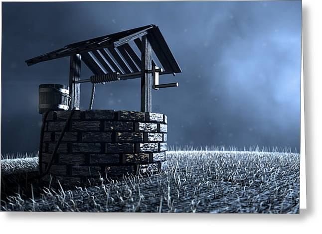 Haunted Wishing Well Greeting Card by Allan Swart