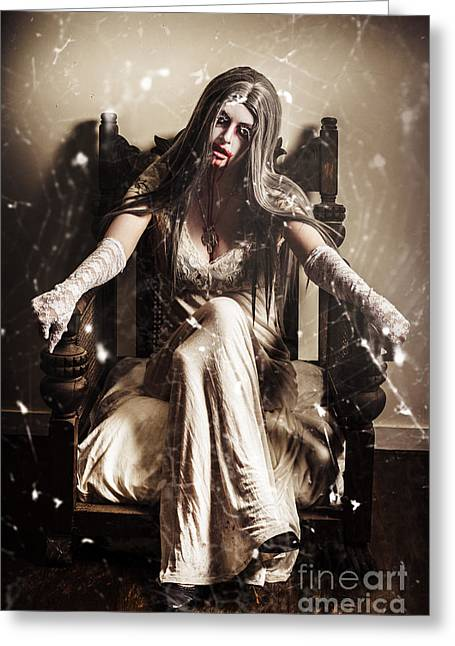 Haunting Horror Scene With A Strange Vampire Girl  Greeting Card by Jorgo Photography - Wall Art Gallery