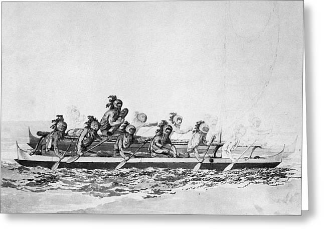 Hawaii Canoe, 1779 Greeting Card by Granger