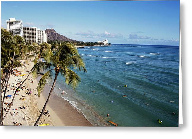 Hawaii Islands, Oahu, Waikiki, View Greeting Card
