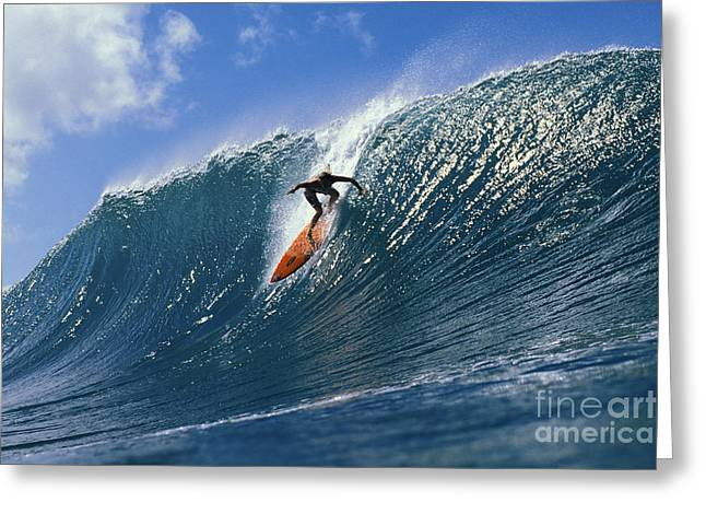 Hawaii, Oahu, North Shore, Action Shot Keala Dropping Down Steep Wave About To Curl Greeting Card