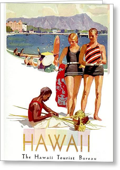 Hawaii Vintage Travel Poster Greeting Card by Jon Neidert