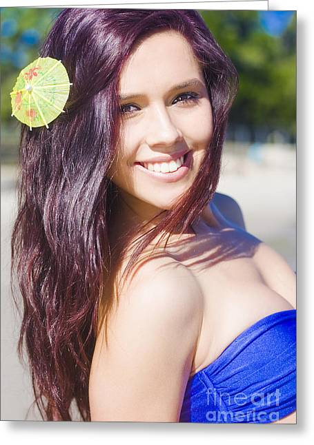Hawaiian Girl In Hawaii Greeting Card by Jorgo Photography - Wall Art Gallery