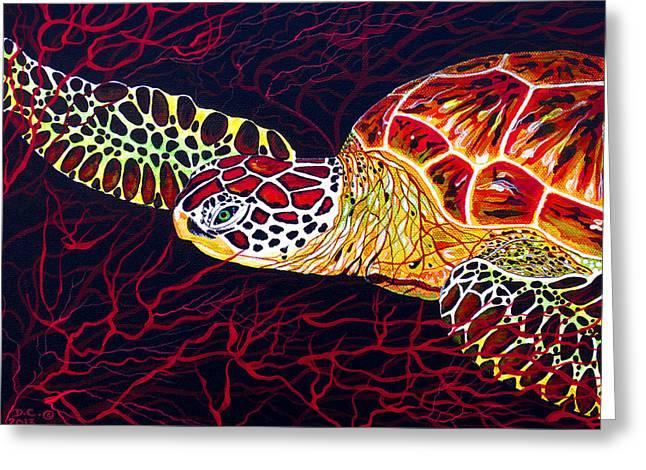 Hawksbill Turtle Greeting Card by Debbie Chamberlin