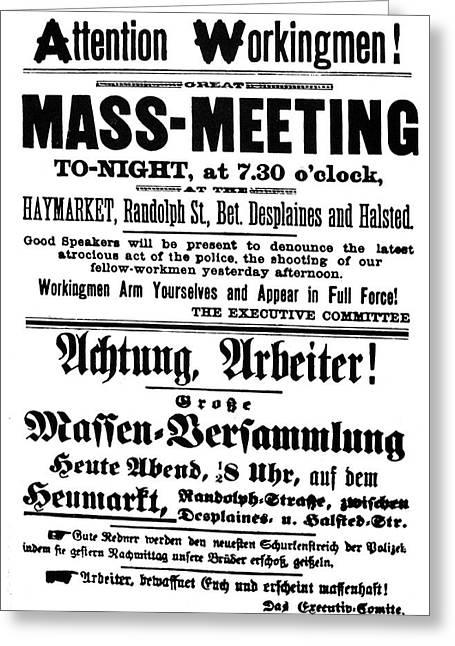 Haymarket Handbill, 1886 Greeting Card by Granger
