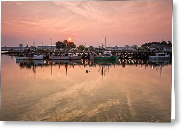 Hazy Sunrise Over The Commercial Pier Portsmouth Nh Greeting Card