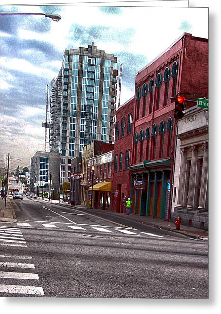 Hdr Street Photography Nashville Tn Greeting Card by Lesa Fine