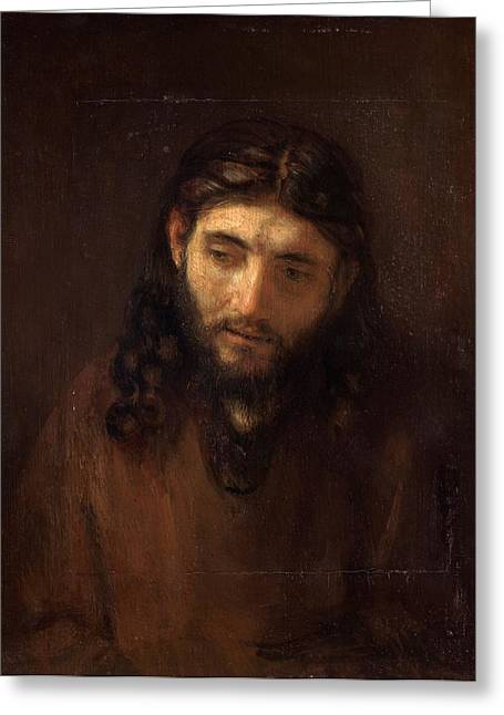 Head Of Christ Greeting Card by Rembrandt van Rijn