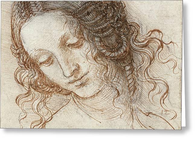 Head Of Leda Greeting Card by Leonardo Da Vinci