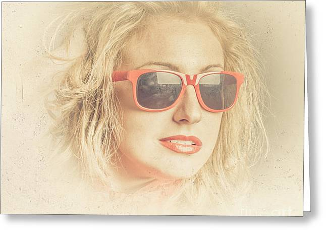 Headshot Of A Pretty Girl In Retro Sunglasses Greeting Card by Jorgo Photography - Wall Art Gallery