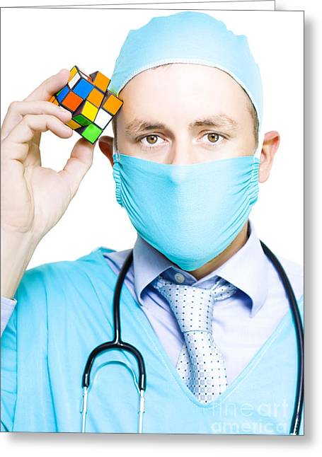 Healthcare Practitioner With A Medical Puzzle Greeting Card