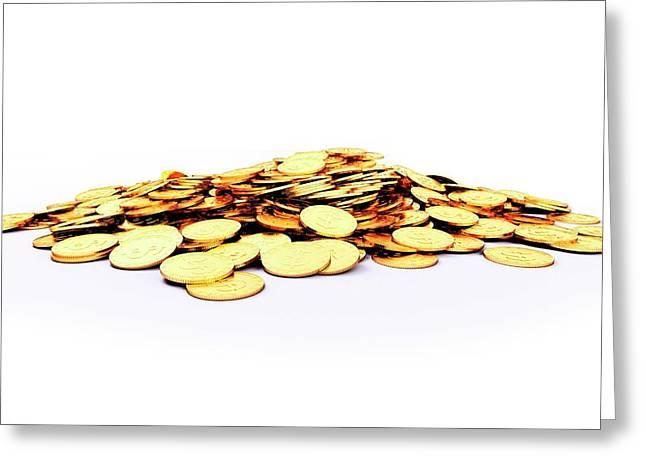 Heap Of Golden Coins Greeting Card by Sebastian Kaulitzki