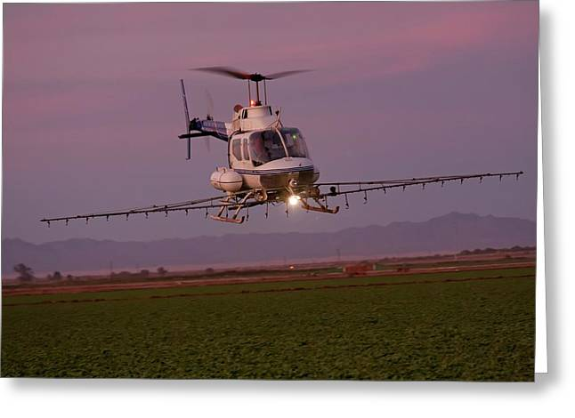 Helicopter Spraying Pesticides Greeting Card